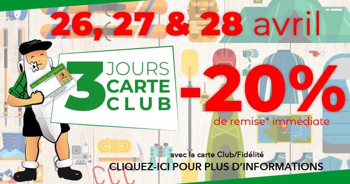 20% de remise pour les 3 jours Carte Club