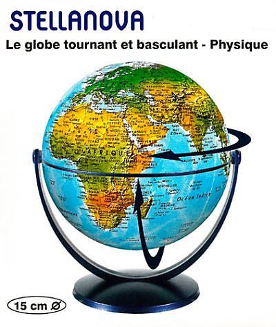 GLOBE 15CM PHYSIQUE TOURNANT BASCULANT