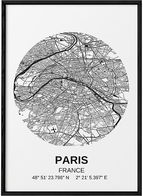 POSTER CARTE PARIS