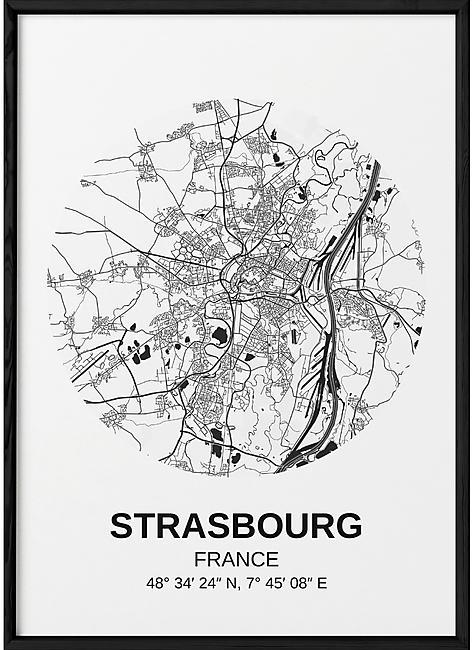 POSTER CARTE STRASBOURG