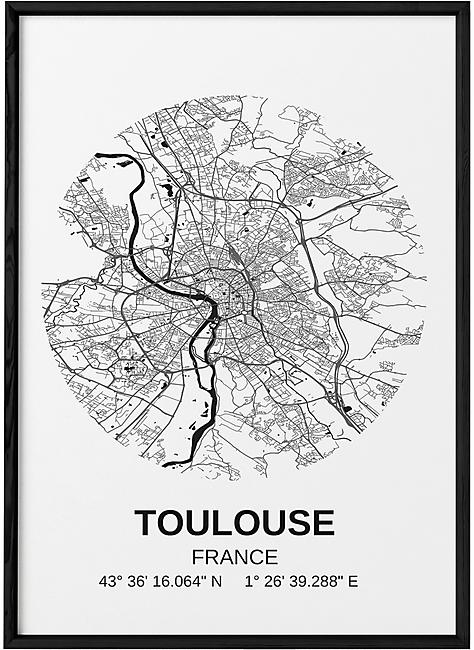 POSTER CARTE TOULOUSE