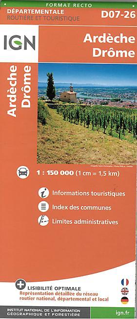 D07 26 ARDECHE DROME ECHELLE 1 150 000