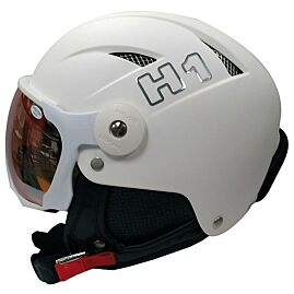 CASQUE DE SKI H1 + VISSIERE orange mirror/blanc
