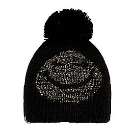 BONNET POMPON SMILEY LUREX PON JR BLACK