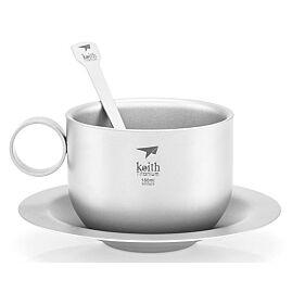 TASSE A CAFE TITANE AVEC CUILLERE ET SOUCOUPE