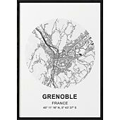 POSTER CARTE GRENOBLE