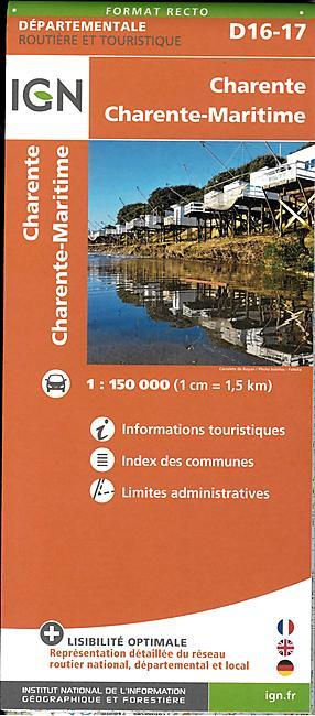 D16 17 CHARENTE ET CH MARITIME ECHELLE 1 150 000