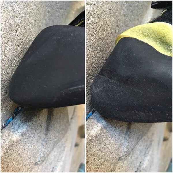 A gauche : chausson à ressemeler - A droite : chausson réparé